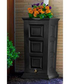 55 Gallon - Good Ideas Rain Barrel - Savannah Rain Saver w/planter - BLACK
