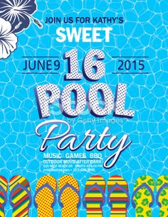 sweet 16 pool party invitation with water palm trees royalty free stock vector art illustration - Birthday Pool Party Invitations