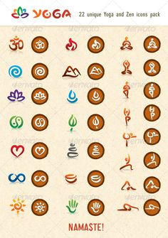 Hatha Yoga and Zen Vector Icons Pack - Health/Medicine Conceptual Yoga Significado, Yoga Symbols, Yoga Images, Yoga Logo, Mudras, Health Symbol, Web Design, Flower Symbol, Yoga Art