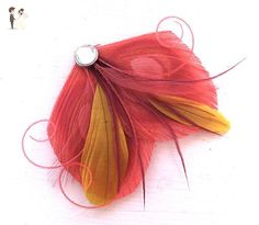 Oh Lucy Handmade SHARYN Peacock Feather Hair Clip, Feather Fascinator in Sunset Coral, Yellow, Burgundy and Dusty Rose - Bridesmaid gifts (*Amazon Partner-Link)