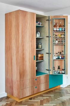teal and plywood pantry cupboard Pantry Cupboard, Pantry Design, Butler Pantry, Bathroom Medicine Cabinet, Locker Storage, Drawers, Layout, Pantry Ideas, Shelves