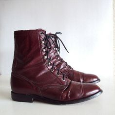 Vintage Laced up Maroon Mens Combat Ankle Roper Boots Size 11 1/2