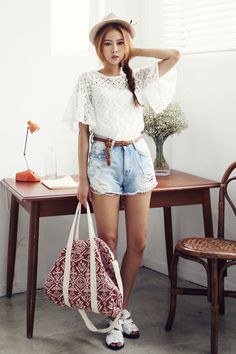 KISS... Keep it Simple, Sweetie!  It's a new take on standard phrase.  A white blouse with denim shorts needs little else. White sandals, hat and patterned duffel bag complete the look.  -Lily  #asianfashion