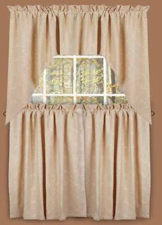 Tiers - Candlewicking - Primitive Country Rustic Window Treatment Embroidered Curtains by Rhagu. $46.99. Fully lined.. 100% cotton.. Beautiful embroidered design.. Our fully lined 100% cotton Tiers are 72 inches wide by 36 inches long per pair, with a 2.5 inch rod pocket and 2 inch header. Total length includes header and rod pocket. Coordinating window treatments are also available, sold separately. Shirr on conventional curtain rod.