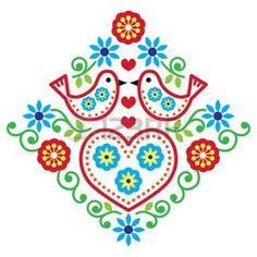 Folk art floral vector pattern with birds