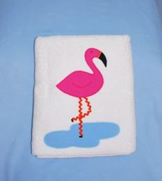 "Applique Flamingo Bath Towel - Your little one will have more fun at bath time in this colorful  flamingos applique bath towel by Vive La Fete.  28"" wide X 56"" long  Cotton Terry.  www.vivelafete.com"