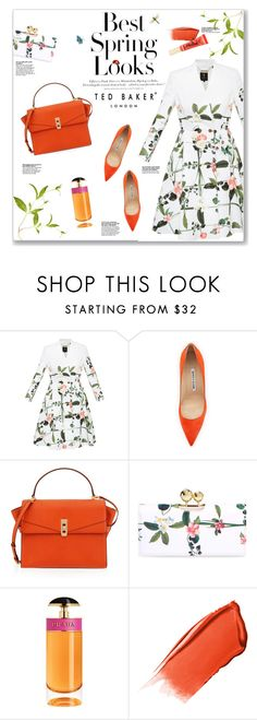 """""""Spring Style"""" by lauren-a-j-reid ❤ liked on Polyvore featuring Ted Baker, H&M, Manolo Blahnik, Henri Bendel, Prada, Hourglass Cosmetics and Too Faced Cosmetics"""