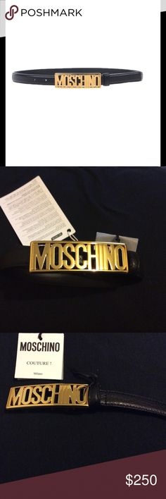 Moschino belt Composition: Soft Leather Details: leather, textured leather, solid color, narrow, metal applications, logo, adjustable closure, contains non-textile parts of animal origin Measurements: Height 0.78 inches 100% authentic Moschino Accessories Belts
