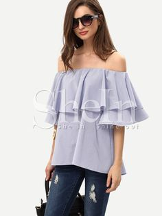Shop Royal Blue Ruffle Off The Shoulder Blouse online. SheIn offers Royal Blue Ruffle Off The Shoulder Blouse & more to fit your fashionable needs. Preppy Mode, Preppy Style, Bell Sleeve Blouse, Bell Sleeves, Top Volant, Preppy Outfits, Fashion Outfits, Womens Fashion, Fashion Trends