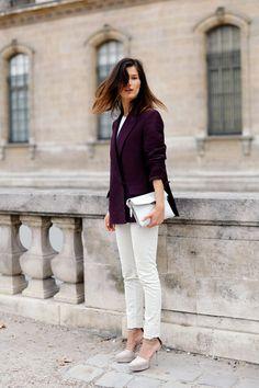 plum blazer + white pants!