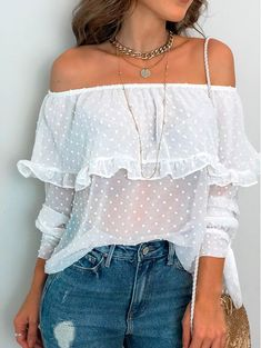 Sexy Boat Neck Ruffled Long Sleeve Polka Dot Top blouses for women,blouses for women chic,blouses fo Cute Blouses, Shirt Blouses, Blouses For Women, Shirts, Casual Outfits, Cute Outfits, Fashion Outfits, Fashion Blouses, Dress Outfits