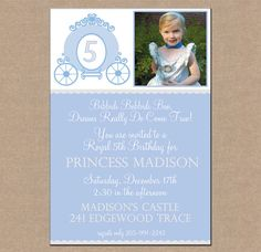 12 Personalized and Printed Girl Princess Cinderella Carriage Party Birthday Photo Invitations with envelopes. $13.95, via Etsy.