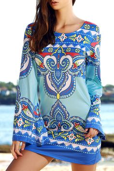 $6.25 Ethnic Style Totem Print Scoop Neck Long Sleeves Dress For Women