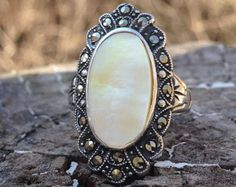 Vintage Sterling Silver Mother of Pearl Ring – Marcasite Jewelry - Halo Ring - Signed - Unique Jewelry - 1930s - Uncas - WhistlingGypsyVTG