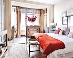 great layout for a guest bedroom... two beds could sleep a married couple, or be pushed apart a bit for two separate guests (cohesive bedding)