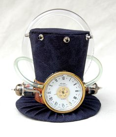 Tiny Top Hat: Steam Punk Time Machine Three - Steampunk gears gold black brown vintage one of a kind cosplay