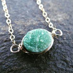 Emerald Colored Oval Druzy Necklace!! #theloveleighlocket #etsy #google #pinterest #instagram #druzy #minimalistjewelry #minimalistnecklace #goldnecklace #trendy #eastwestnecklace