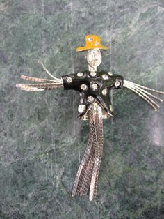 Scarecrow Brooch Enamel Rhinestone Silver by VintageSparkleyBits