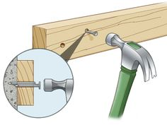 DIY Tip of the Day: Masonry nail trick. If you have trouble driving masonry nails into concrete, try this trick. Drill a hole into the concrete with a masonry bit, slightly larger than the nail diameter and about 1/8 in. shorter than the length. Cut the head off a round masonry nail with a hacksaw and push the nail into the hole. Then drive a second masonry nail alongside the first.
