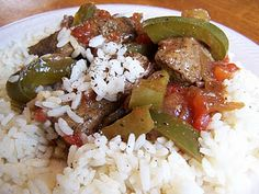 Crockpot Pepper Steak. Very good. I added more garlic than the recipe called for.