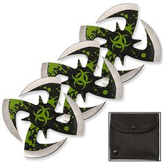 CLOSEOUT - Biohazard Ninja Throwing Knives 3pc Set w/ Pouch