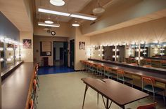 dressing rooms at Central Washington University theatre department