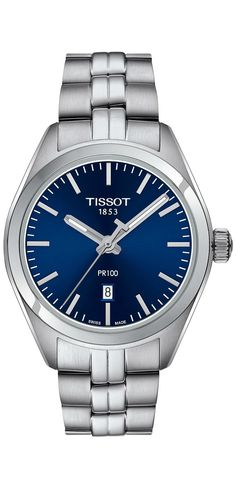 A true blue beauty. Luxuriously loyal and steadfast, you'll fall in love with this triumphant treasure, the #Tissot PR 100 Lady #timepiece. #watch #timepieces #watches #jewelry
