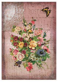 Decoupage - rose bouquet