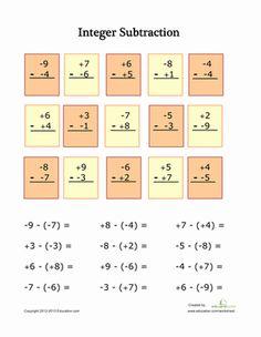 Fifth Grade Math Worksheets: Subtracting Integers