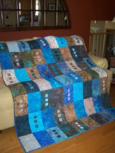"""Modern batik quilt named """"Zen""""-like the design, perhaps in another colour way...."""