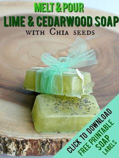 Easy Melt & Pour Soap Recipes: Lime and Cedarwood Soap with Chia Seeds. This has a Free Printable Soap Labels that you can wrap around your bars before giving as a gift! These are WAY easier to make than you think and make wonderful gifts! Homemade Soap Recipes, Homemade Gifts, Diy Gifts, Unique Gifts, Homemade Beauty, Cedarwood Essential Oil, Essential Oils, Melt And Pour, Soap Labels