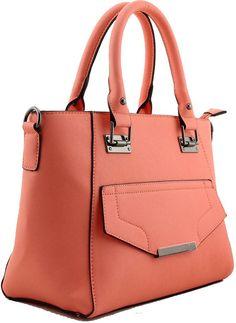 Gail - Handbag with Gun Metal Fittings- Peach