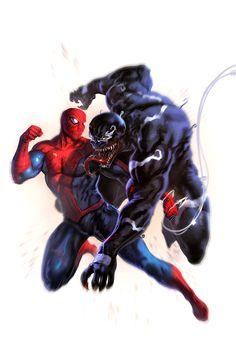 #Spiderman #Fan #Art. (Spider-Man Vs. Venom) By: Leonardo Black. (THE * 5 * STÅR * ÅWARD * OF: * AW YEAH, IT'S MAJOR ÅWESOMENESS!!!™)[THANK Ü 4 PINNING!!!<·><]<©>ÅÅÅ+(OB4E)