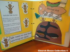 """Let's Be Like An Ant"" Folder Lapbook Craft For Kids In Children's Church or Sunday School Sunday School Crafts For Kids, Bible School Crafts, Sunday School Lessons, Bible Crafts, Ant Crafts, Sunday School Coloring Pages, Children's Church Crafts, Bible For Kids, Kids Church"
