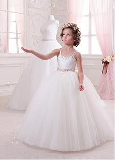 Charming Tulle & Satin Spaghetti Straps Ball Gown Flower Girl Dresses With Beads & Rhinestones