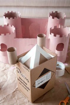Build a Toy Castle from Upcycled Cardboard - A Beautiful Mess Cardboard Castle, Cardboard Toys, Projects For Kids, Crafts For Kids, Castle Crafts, Toy Castle, Art Activities For Toddlers, Acrylic Craft Paint, Building For Kids