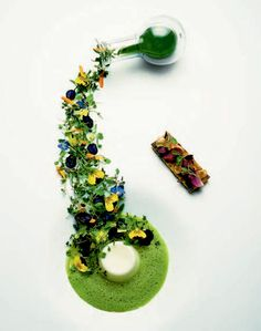 Joutes with bone marrow, green gazpacho, pea puree, verjus jelly, and cheese toasts by chef Heston Blumenthal.