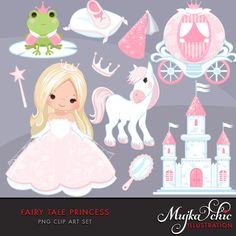 Fairy Tale Princess Clipart. Fairy Tale characters, princess carriage, tiara…