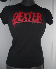 $15 - Ladies upcycled reconstructed DIY DEXTER blood splattered tshirt. Awesome fitted shirt just for you!