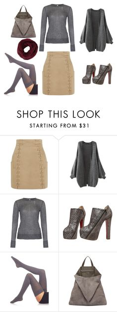"""""""A cold gray day"""" by marjoriejfp on Polyvore featuring Balmain, French Connection, Christian Louboutin, Fogal, TSATSAS, BCBGMAXAZRIA, women's clothing, women, female and woman"""
