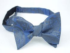 Self Tie Bow Ties.Blue and Grey Paisley Bow by GuuuW on Etsy