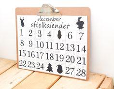 Aftelkalender December Sinterklaas en Kerst A3 formaat zwart wit.