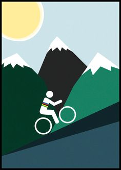 Cykling World Champion climbing a hill. Design