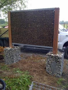 Our new mulch panel. Lighter and functional. Use for sound barrier, privacy, vertical garden or fencing. www.designergabions.com