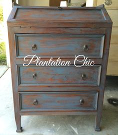Primitive piece painted with Annie Sloan Greek Blue Chalk Paint, clear waxed, and dark waxed with Daddy Vans antique brown. --Plantation Chic