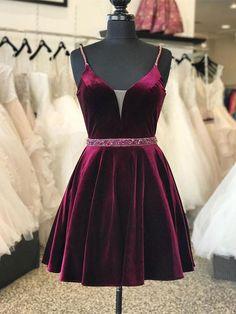 V-neck Cotton Spaghetti Strap Homecoming Dresses AHC00057