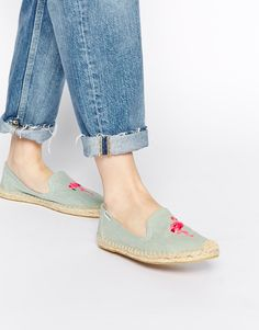 Soludos | Soludos Flamingo Embroidered Espadrille Flat Shoes at ASOS