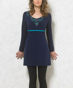 Look at this Navy Medallion Empire-Waist Dress - Plus Too on #zulily today!