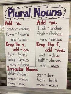 Noun Anchor Chart | Plural Nouns Anchor Chart by Leticia Diaz Limones