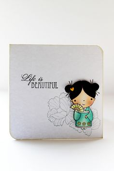 japanese beautiful mimi by cathy.sweet and simple image. lovely coloring of the kimono girl with peonies and sentiment in black only. Japanese Paper Art, Japanese Stamp, Penny Black Cards, Penny Black Stamps, Card Making Inspiration, Making Ideas, Asian Crafts, Tiddly Inks, Hand Made Greeting Cards